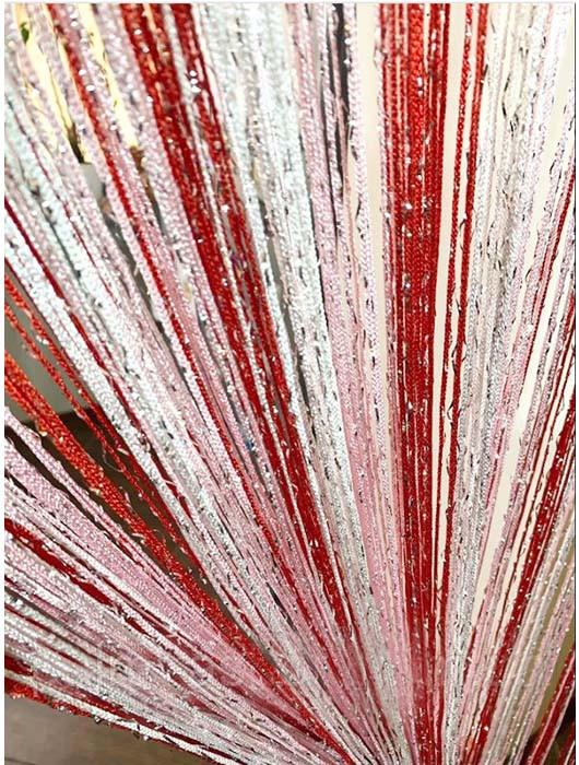 Шторы нити Радуга Дождь с люрексом белый, розовый. красный,