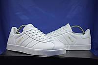 Белые кеды, криперы мужские в стиле Adidas gazelle (адидас газель)