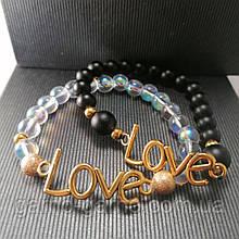 Браслет з натуральних каменів: шунгіт, опал райдужний love . Парний браслет. Може бути парним для неї і його.