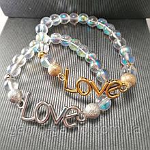 Браслет з натурального каміння: опал райдужний love . Парний браслет. Може бути парним для неї і його.
