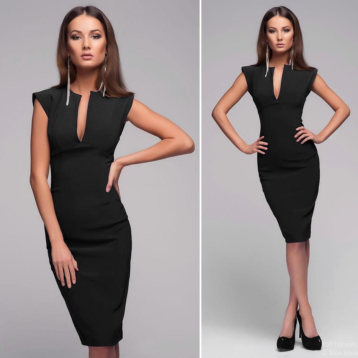 Черное платье женское с декольте капля Mon