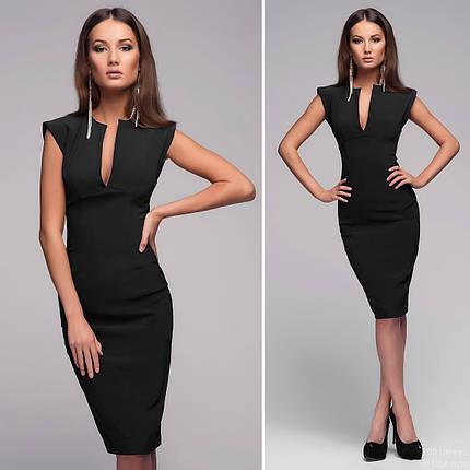 Черное платье женское с декольте капля Mon, фото 2