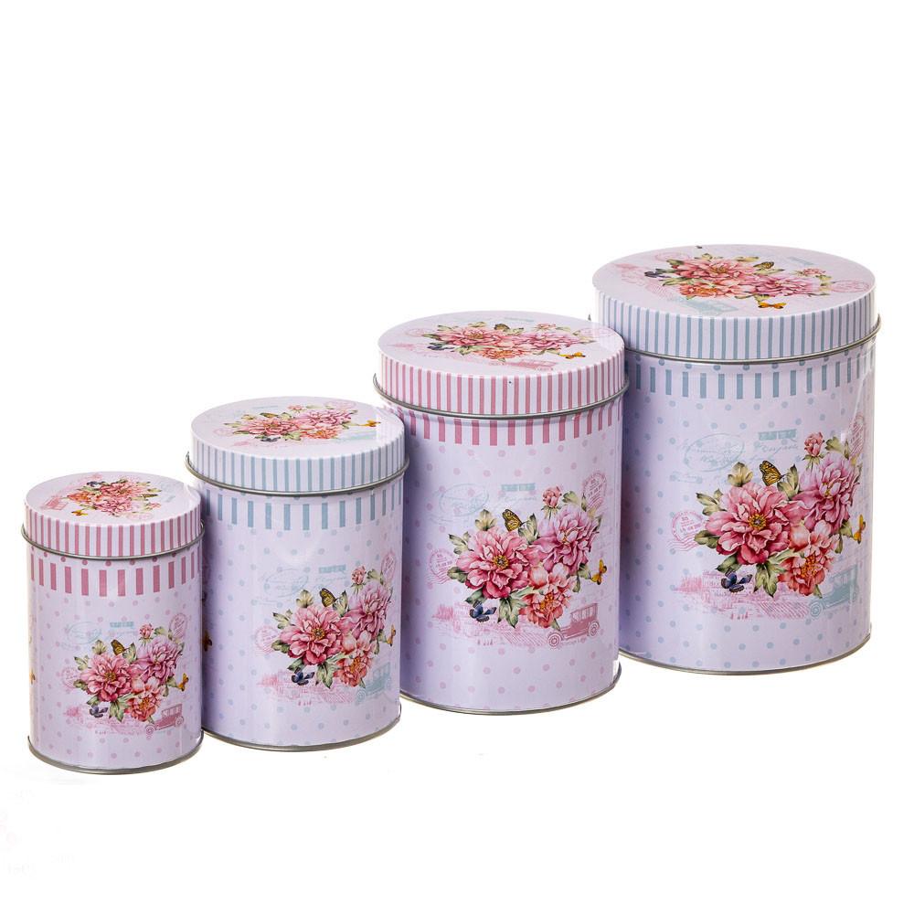 """Набір з 4-х жерстяних банок """"Квіткова свіжість"""" (8113-008)"""