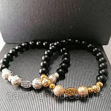 Браслет з натуральних каменів: шунгіт, гематит love . Парний браслет. Може бути парним для неї і його.