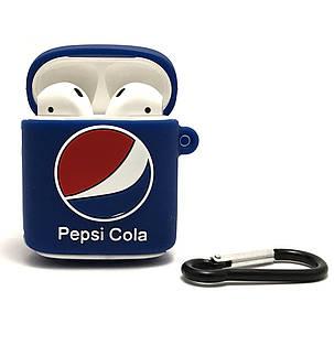 Силиконовый 3D чехол Pepsi для наушников AirPods 1 и 2 поколения. Soft-touch покрытие., фото 2