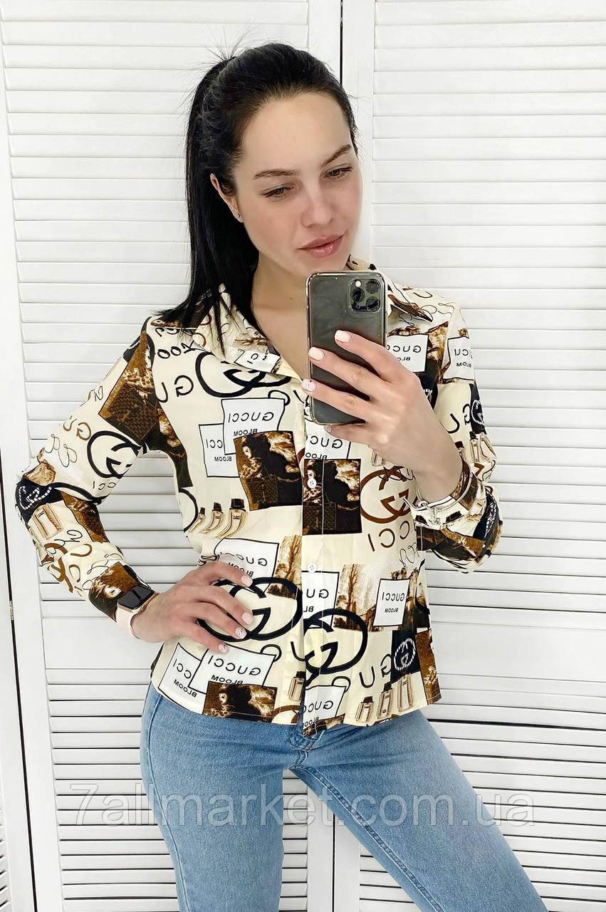 """Сорочка жіноча молодіжна GUCHI размеры42-46 (3ол)""""AFINA"""" купити недорого від прямого постачальника"""