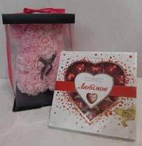 Подарок на 8 марта. Мишка из роз с конфетами, фото 3