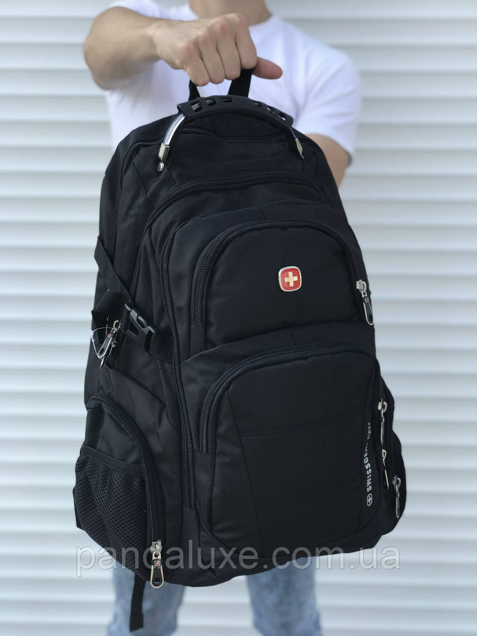 Рюкзак городской мужской черный c ортопедической спинкой Swissgear 46х30 см
