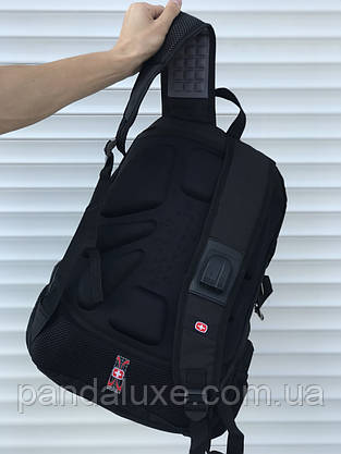 Рюкзак городской мужской черный c ортопедической спинкой Swissgear 46х30 см, фото 3