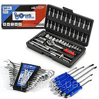 ТРИ НАБОРА инструментов за 629 грн  (46 ед. Profline 60465+наб ключей 12 шт+комплект отверток ударных 6 шт)