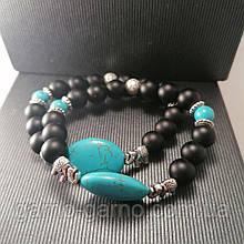 Браслет з натуральних каменів: лава, шунгіт, бірюза, слон. Може бути парним для неї і його.