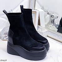 Женские ботинки ДЕМИ черные эко замш, фото 1
