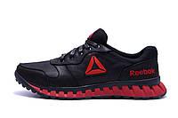 Мужские кожаные кроссовки  Reebok Classic Black and Red (реплика)