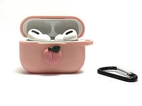 Силиконовый 3D чехол Персик для наушников AirPods Pro. Soft-touch покрытие., фото 2