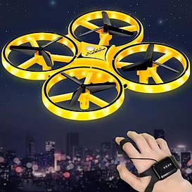 Квадрокоптер дрон TRACKER DRON Pro Original с сенсорным управлением на руку, жестами Желтый