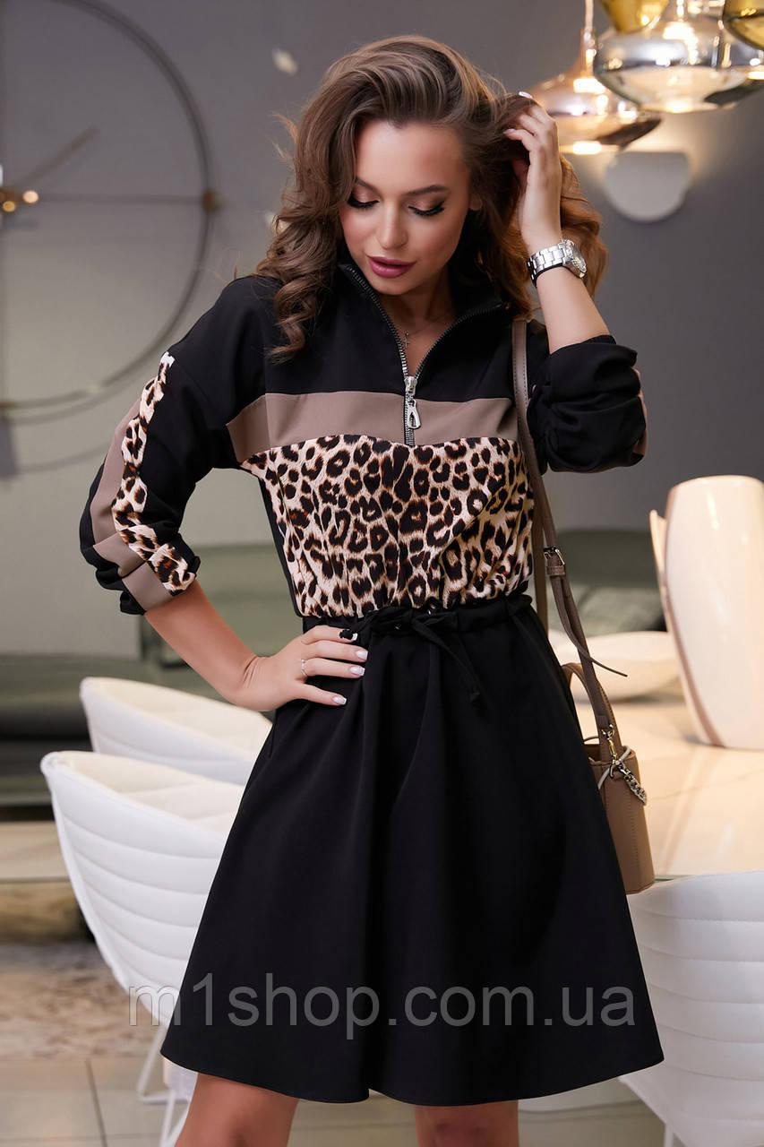 Расклешенное черное платье с леопардовым принтом (3975-3973-3874 svt)