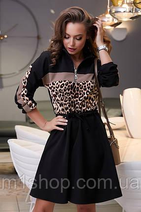 Расклешенное черное платье с леопардовым принтом (3975-3973-3874 svt), фото 2