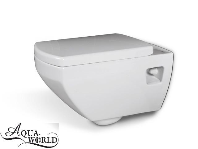 Унитаз подвесной с сиденьем квадратный Aqua-World СфПс.1345