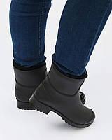 Резиновые сапоги женские с утеплителем на каблуке (черные)