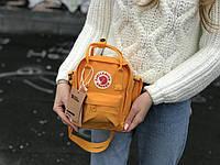 Маленькая практичная сумка Kanken Mini c плечевым ремнем оранжевая