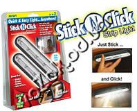Беспроводной самоклеющийся LED светильник Stick n Click set of 2 (Стик энд Клик) прямоугольный 2 шт, фото 1