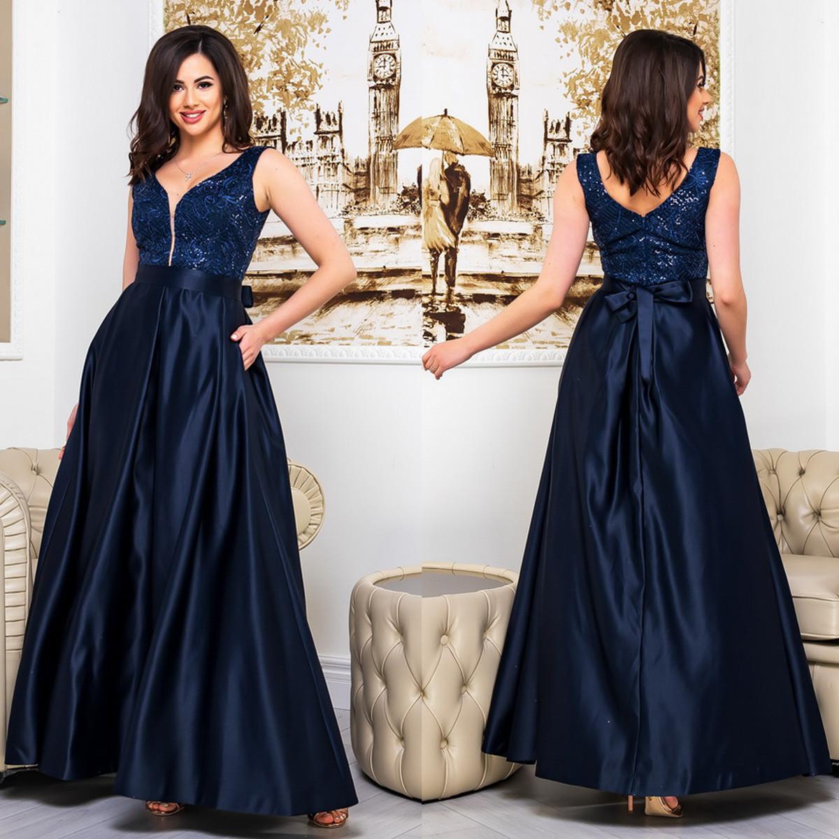 """Синя атласна сукня вечірнє """"Ніколь"""""""