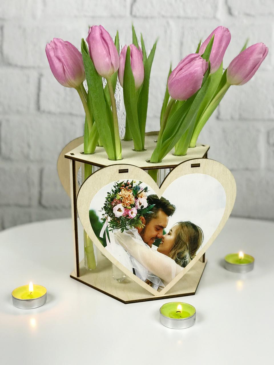 Дизайнерская подставка для цветов со стеклянными колбами и фото на заказ