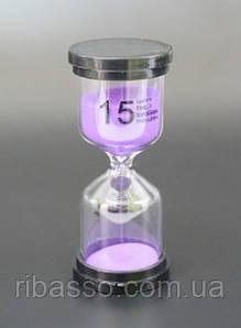 """9290185 Песочные часы """"Круг"""" стекло + пластик 15 минут Сиреневый песок"""