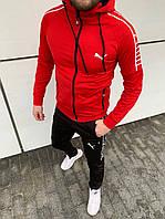 Весенний Мужской спортивный костюм Puma ( черный и красный)