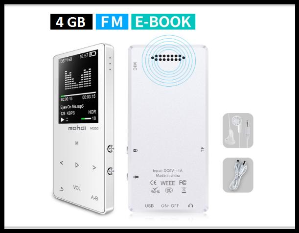 MP3 Плеер Mahdi M320 4Gb, 80 часов работы без подзарядки, белый