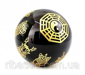 9170011 Гармонизатор Шар обсидиан с буддийской символикой Багуа