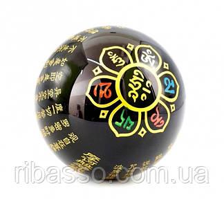 9170011 Гармонизатор Шар обсидиан с буддийской символикой Лотос цветной