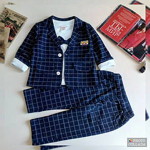 Нарядный костюм тройка на мальчика  джентельмен синий в клетку 1-4 года, фото 2