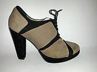 Кожаные женские стильные ботильоны на каблуке 36р Gina