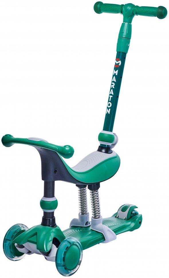 Самокат беговел Scooter Smart Maxi 5в1 с родительской ручкой Зеленый