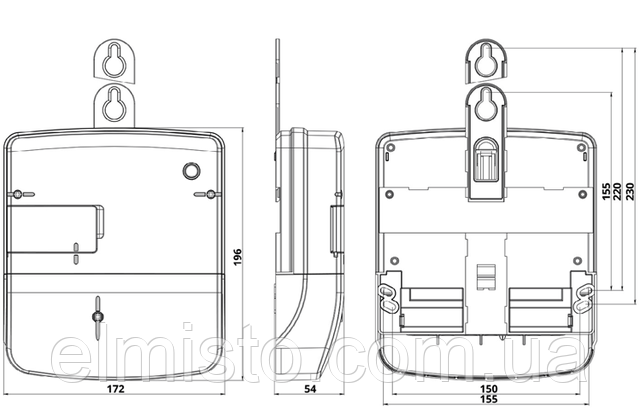 Габаритный чертеж счетчика электроэнергииНIК 2300 AP3T.1002.MC.11