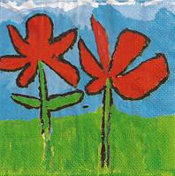 """Салфетка для декупажа """"Детский рисунок - цветы"""""""