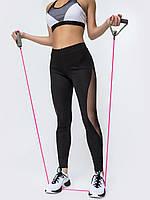 Лосины черные  женские с прозрачными вставками 42-44 46-48 50-52