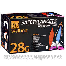 Безопасные ланцеты Wellion 28G 200 шт.