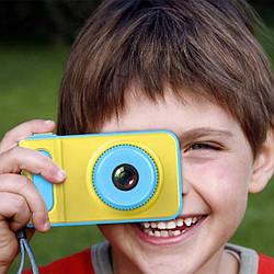 Детский фотоаппарат с экраном синийSMART KIDS CAMERA V7