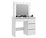 Туалетный столик, стол для макияжа с зеркалом и выдвижными ящиками, зеркало с подсветкой, фото 4
