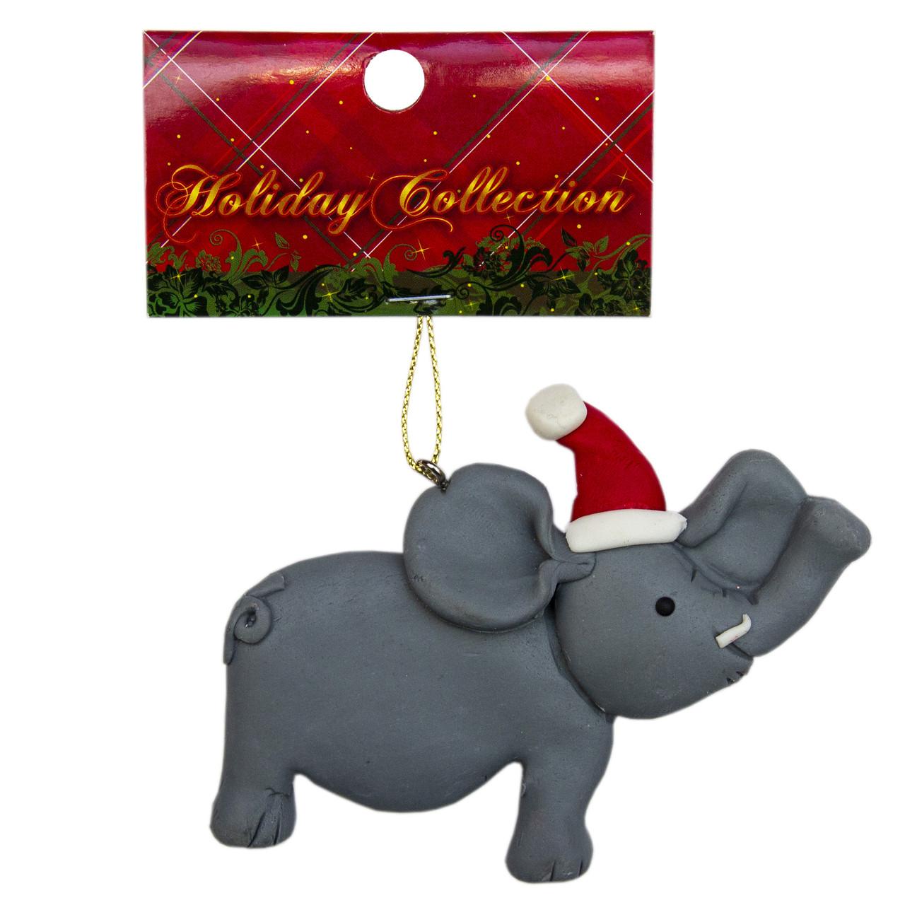 Елочная игрушка из пластика слон, 9см (001378-1)