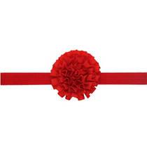 Красная повязка для детей на голову - размер универсальный (на резинке), цветок 7см