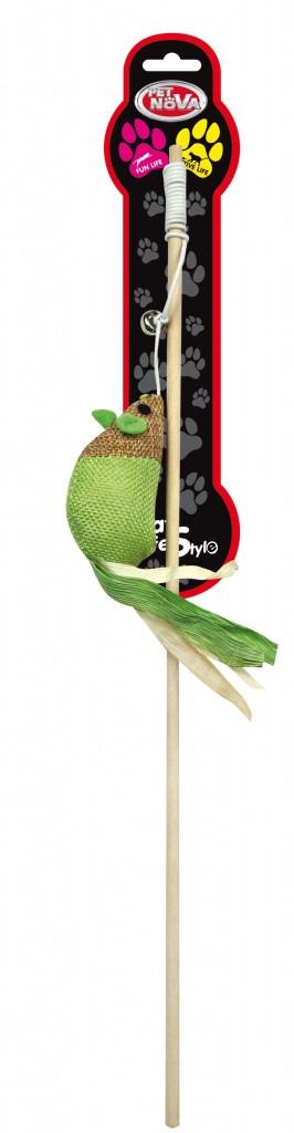 Іграшка для котів Вудка з мишею Pet Nova 40 см Зелена