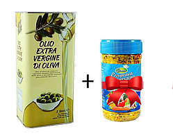 Оливкове масло Olio Extra Vergine 5 л + Універсальна приправа Caneo 850 г в родарунок.