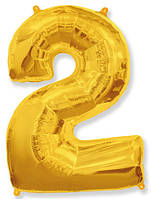Фольгированные цифры 2 золото, 70 см (в инд. упаковке)