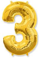 Фольгированные цифры 3 золото, 70 см (в инд. упаковке)
