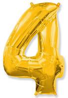 Фольгированные цифры 4 золото, 70 см (в инд. упаковке)