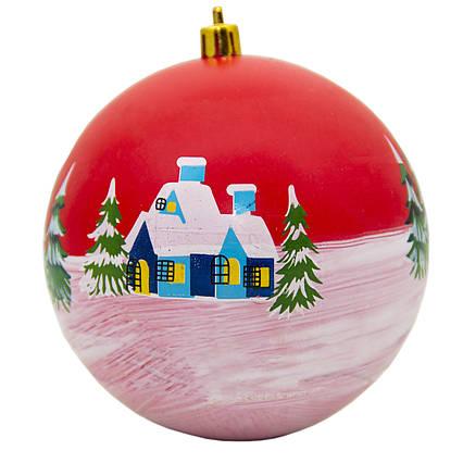 Елочная игрушка - шар с рисунком, D10 см, красный, пластик (032877)