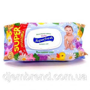 Влажные салфетки Superfresh Baby с клапаном, 120 шт